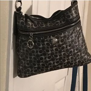 Coach Signature Crossbody Purse Bag Black Gray